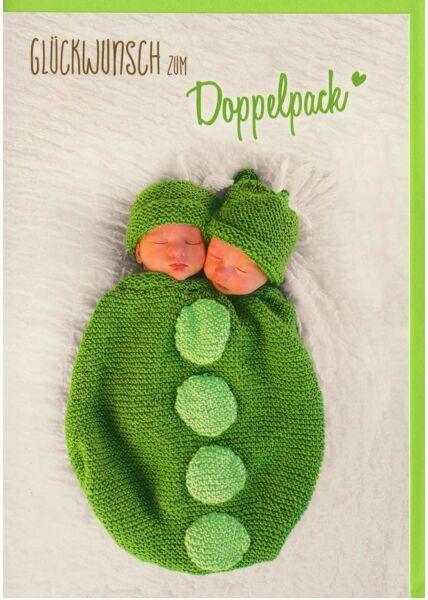 Glückwunschkarten Geburtstag Glückwunschkarte Zwillinge Geburt Doppelpack grün