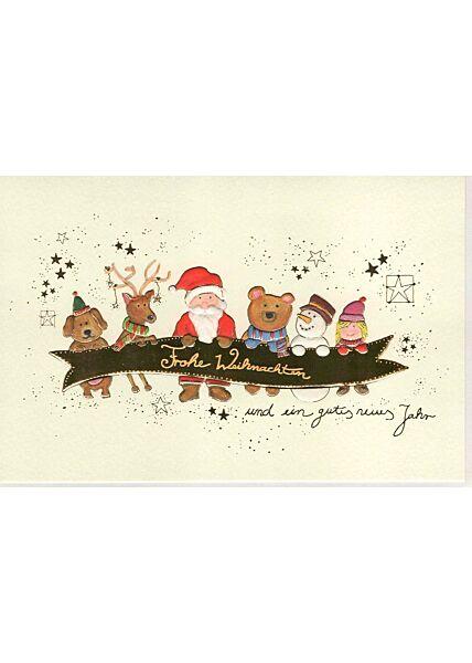 Weihnachtsgrußkarten Weihnachtsgrußkarte Naturkarton Weihnachtsmann und Freunde