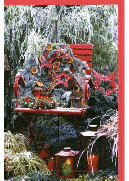 Weihnachtskarte mit klassischem Motiv Gartenstuhl