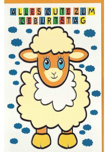 Geburtstagskarte Kinder Schaf