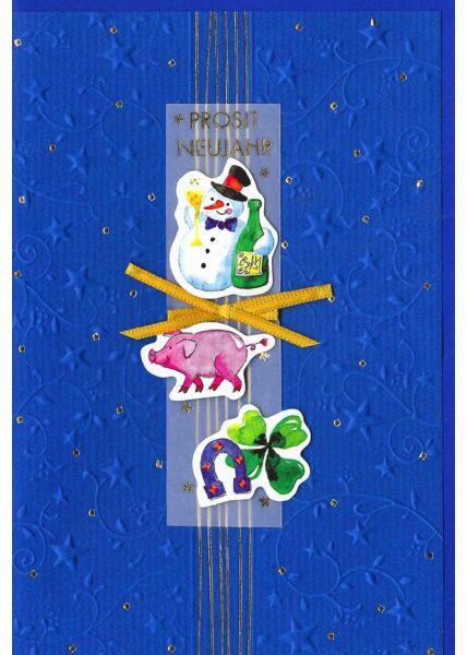 Neujahrskarte Prost Neujahr hochwertiges Papier