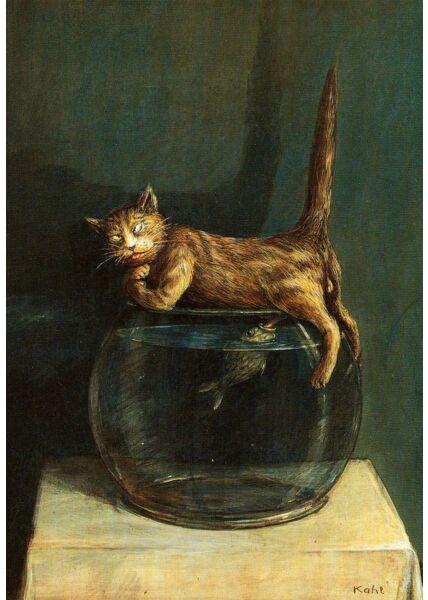 Postkarte Lustig Fisch und Katze