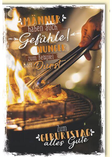 """Geburtstagskarte Männer Spruch """"Hunger und Durst"""" Grill"""