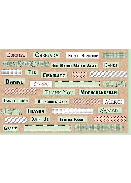 Danksagungskarte international Danke Danki Thank You