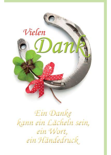 Danksagungskarte Hufeisen, Kleeblatt, rote Schleife, mit Goldfolie