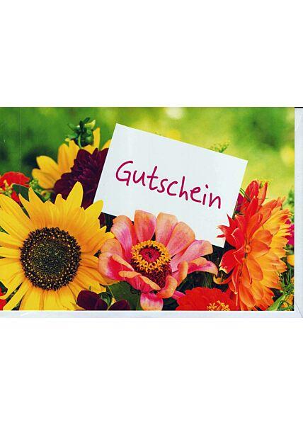 Gutscheinkarte: Blumenstrauß mit Gutscheinkarte