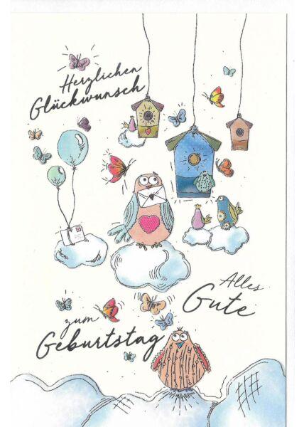Glückwunschkarte Geburtstag hochwertig Vogelhäuser