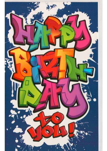 Graffiti-Geburtstagskarte Happy Birthday to you