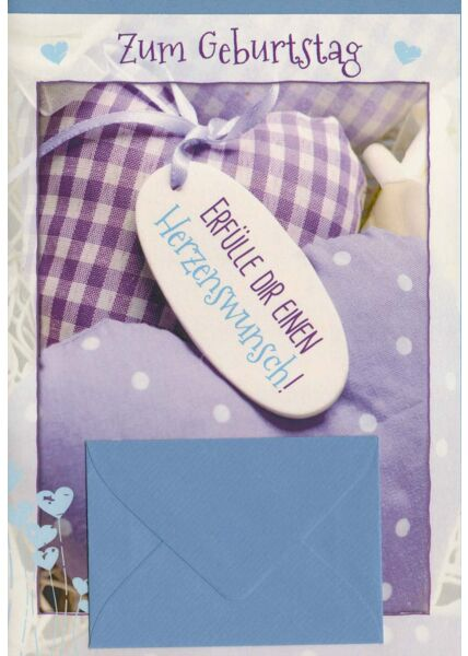 Geburtstagskarte mit Geldkuvert für Herzenswunsch