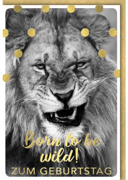 Geburtstagskarte lustig knurrender Löwe