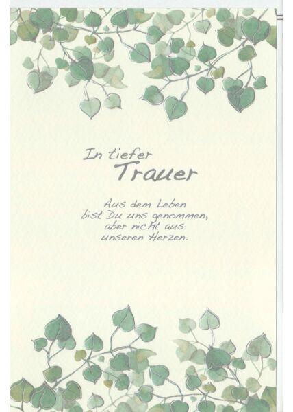 Trauerkarte Blätter, Naturkarton, mit Silberfolie und Blindprägung