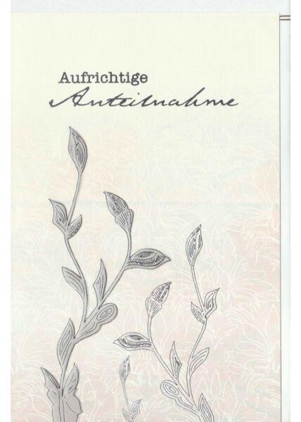 Kondolenzkarte Ranke, Naturkarton, mit Silberfolie und Blindprägung