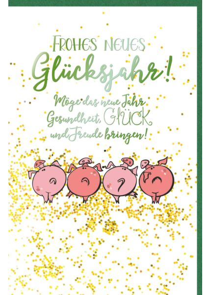 Neujahrsgrußkarte Schweine Gesundheit, Glück und Freude