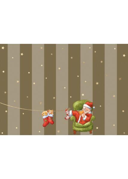 Weihnachtspostkarte Hund u. Katze in Weihnachtssocke