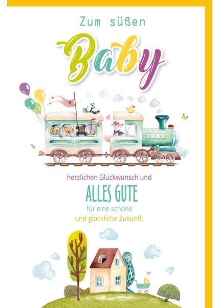 Glückwunschkarte zur Geburt Lokomotive Zum süßen Baby