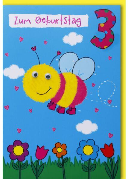 Geburtstagskarte für Kinder 3. Geburtstag - Biene