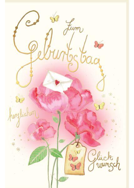 Geburtstagskarte für Fraue Blume, Schmetterlinge, Brief, Naturkarton