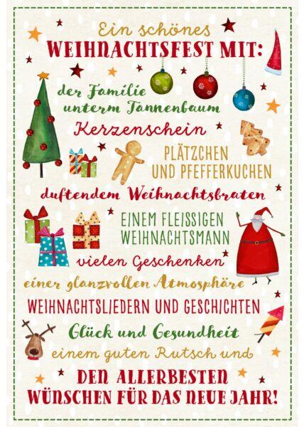 schöne Weihnachtskarte Ein schönes Weihnachtsfest mit der Familie unterm Tannenbaum