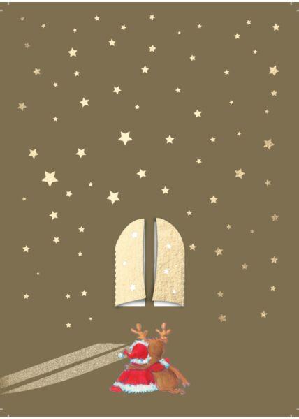 Weihnachtspostkarte Goldfolie Fenster zum Ausklappen / Engel Rentier