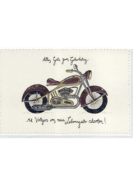 Glückwunschkarte Geburtstag Männer premium: Motorrad