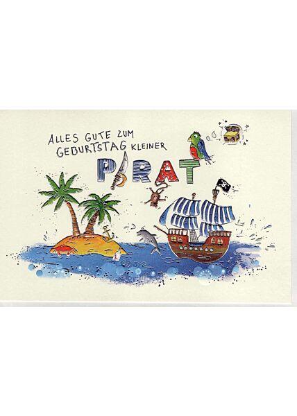 Glückwunschkarte Geburtstag Junge premium: kleiner Pirat