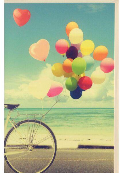 Grußkarte ohne Text Fahrrad mit Luftballons