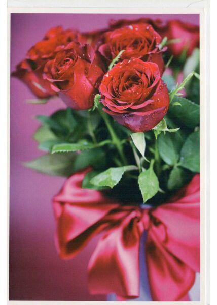 Grußkarte ohne Text kleiner Rosenstrauß