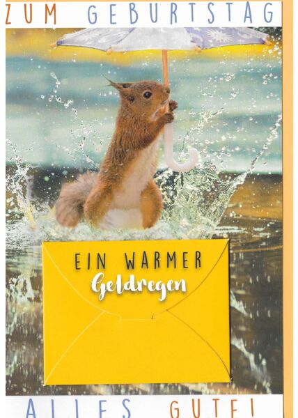 Glückwunschkarte Geburtstag mit Kuvert für Geld Eichhörnchen