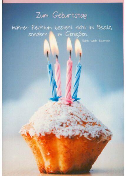 Geburtstagskarte Muffin Spruch Reichtum