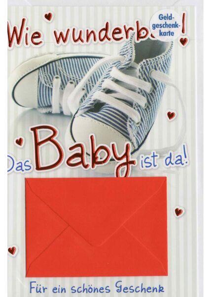 Glückwunschkarte Geburt Baby mit Geldfach!