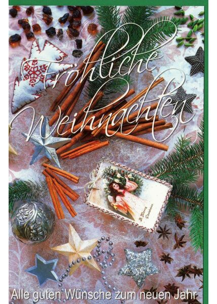 Weihnachtskarte Fröhliche Weihnachten Kuvert grün