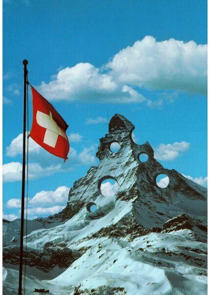 Witzige Postkarte Schweiz Löcher Berg