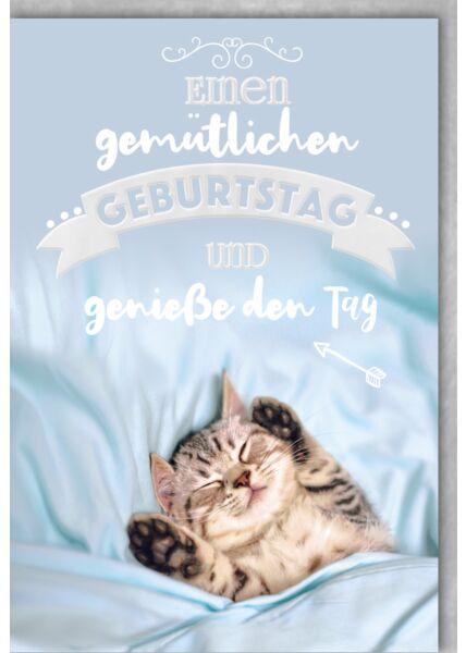 Geburtstagskarte, zudecktes schlafendes Kätzchen