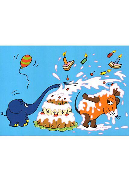 Maus-Postkarte Tortenschlacht