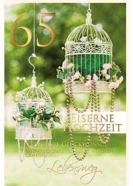 Glückwunschkarte Eiserne Hochzeit 65 Jahre Vogelkäfig
