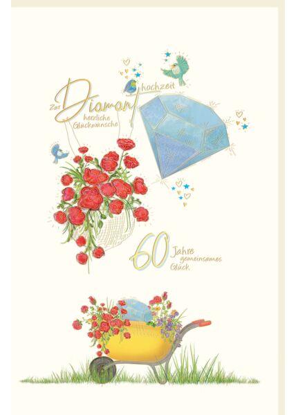 Glückwunschkarte Diamanthochzeit Schubkarre mit Blumen, Blumen, Vögel