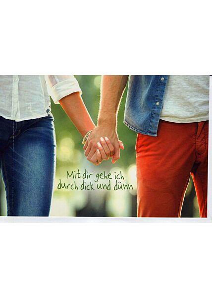 Grußkarte Freund/in: Paar hält Händchen