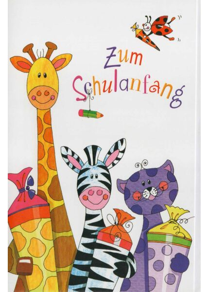 Grußkarte zum Schulanfang: Tiere mit Schultüten