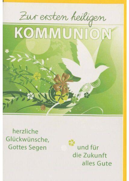 Kommunionskarte liebevoll mit Taube