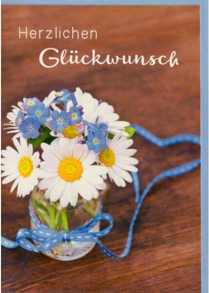 Geburtstagskarte Gänseblümchen in kleiner Vase