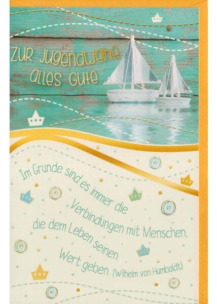 Glückwünsche zur Jugendweihe Segelboote
