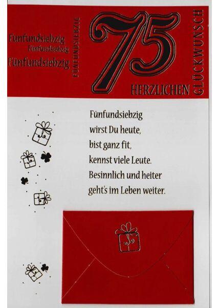 Geburtstag 75 Karte mit Kuvert für Geld