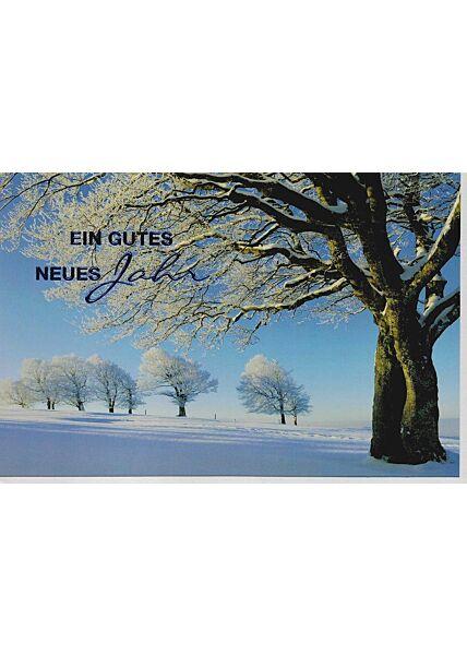 Karte neues Jahr Landschaft Schnee