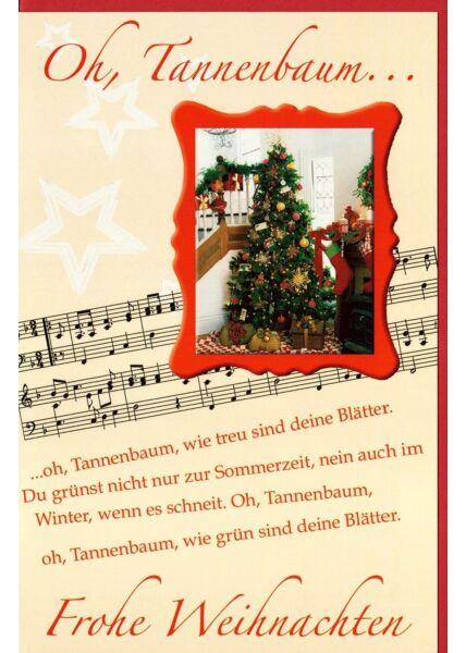 Weihnachtskarte Oh Tannebaum Lied