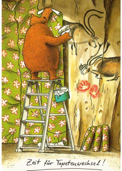 Postkarte lustig Zeit für Tapetenwechsel