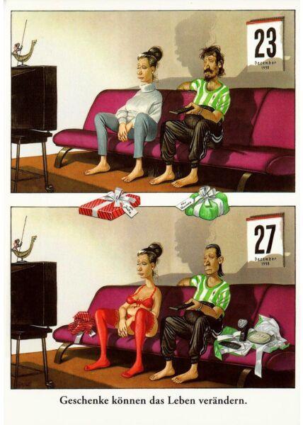 Postkarte lustig Cartoon Geschenke