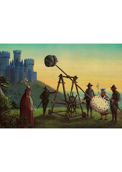 Postkarte lustig Burg Ritter Torte