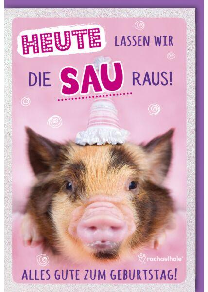 lustige Geburtstagskarte Ferkel mit Hütchen