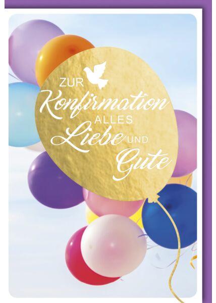 Glückwunschkarte Konfirmation - goldener Luftballon mit Schriftzug