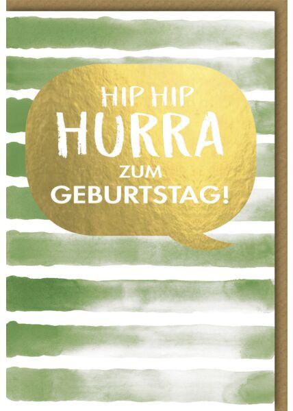 Geburtstagskarte - Hip Hip Hurra auf grünem Aquarell